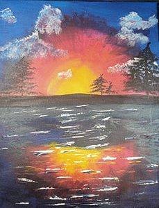 Sunrise sunset 16 x 20 acrylic on canvas 2020 Alicia JT full photo